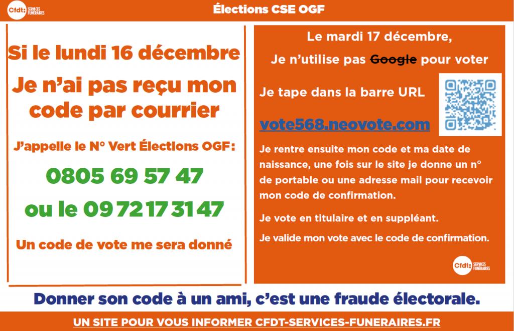 instructions pour voter si pas de code
